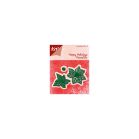 Snij-embosstencil - Happy Holidays - Poinsettia (kerstster)