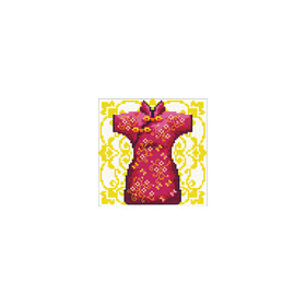 140.021 No-Count Cross Stitch Kits Female Geisha Red 12x12cm