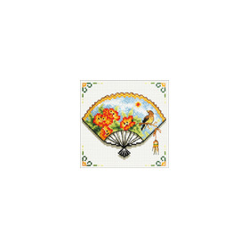 140.027 No-Count Cross Stitch Kits Nasturtium Fan 12x12cm