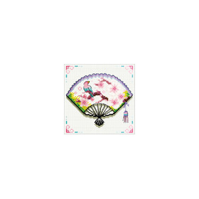 140.029 No-Count Cross Stitch Kits Cherry Blossom Fan 12x12cm