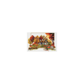 640.047 No-Count Cross Stitch Kits Autumn Cottage 48x31cm