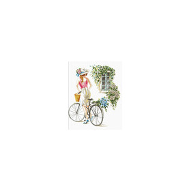 640.078 No-Count Cross Stitch Kits Bicycle Girl 43x51cm