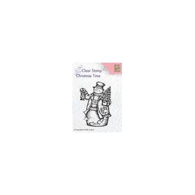 Nellies Choice Clearstempel - Christmas time Sneeuwman+lant. CT024 48x68mm (8-18)