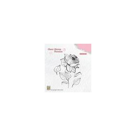 Nellie's Choice Silhouette Clear Stamps bloemen roos FLO017 69x85mm (11-18)