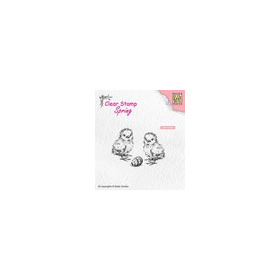 Nellies Choice Clearstempel - lente, kuikens met paasei SPCS008 55x40mm (03-19)