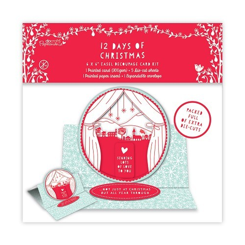 6 x 6 Easel Decoupage Card Kit - 12 Days of Christmas