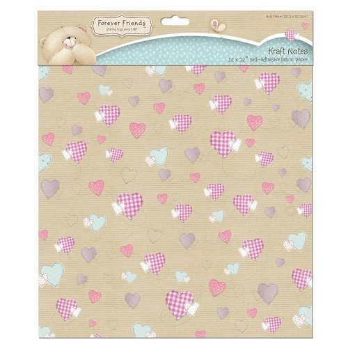 12 x 12 Fabric Paper (Self Adhesive) - Kraft Notes - Hearts