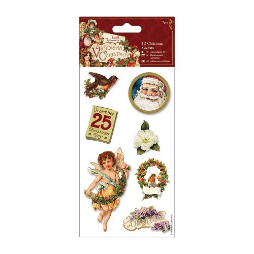 3D Christmas Stickers (7pcs) - Victorian Christmas