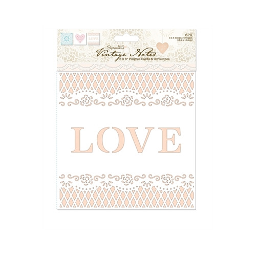 6 x 6 Cards/Envelopes Delicate Filigree (6pk) - Vintage Notes