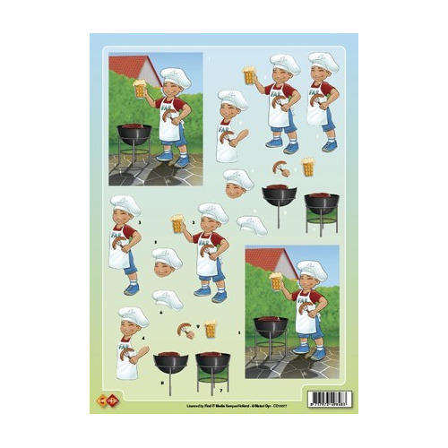 3D A4 knipvel Card Deco - Barbeque