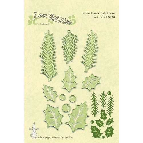 Lea?bilitie® holly leave, pine branches snij en embossing mal