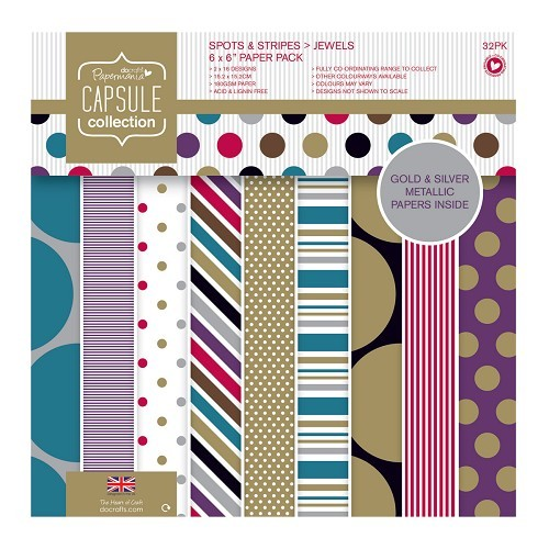 6 x 6 Paper Pack (32pk) - Capsule - Spots & Stripes Jewels