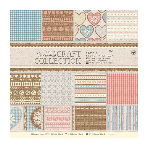 12 x 12 Paper Pack (32pk) - Craft Collection - Pastels