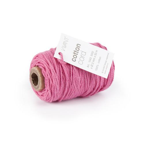 Vivant   Koord Katoen fijn roze - 50 MT 2MM