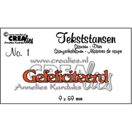 Crealies tekststans - Gefeliciteerd (NL) CLTS01 / 9 x 59 mm