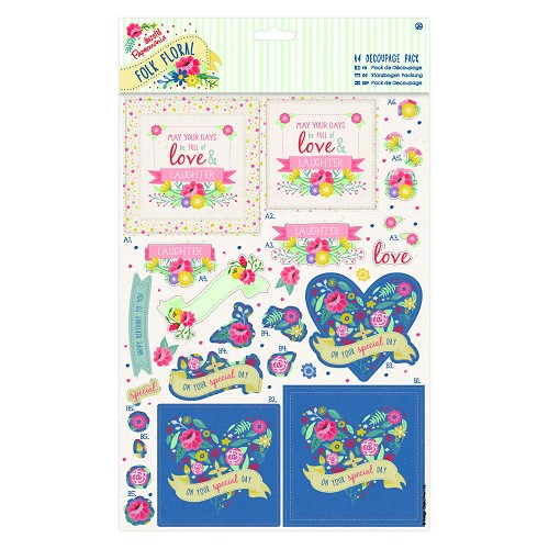 A4 Decoupage Pack - Folk Floral - You're the Best