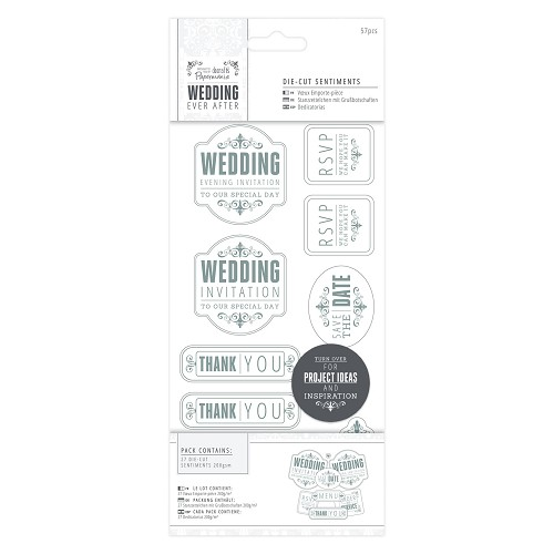 4 x 8  Die-cut Sentiments (57pcs) - Wedding - Mixed/Silver/White