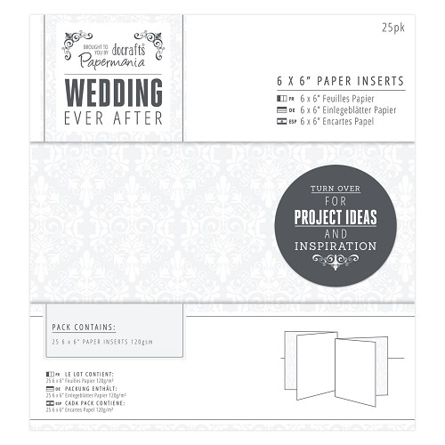 6 x 6 Paper Inserts (25pk) - Wedding - Damask