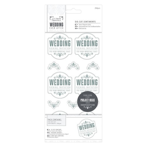 4 x 8  Die-cut Sentiments (204pcs) - Wedding - EI Special/Silver/White
