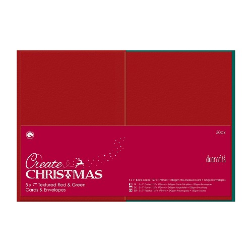 5 x 7 Cards/Envelopes Textured (50pk, 240gsm) - Red & Green
