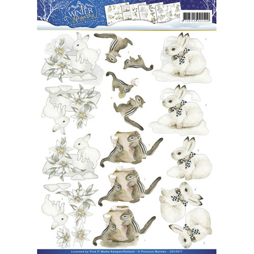 3D Knipvel -  Precious Marieke - Winter Wonderland - Winter Animals