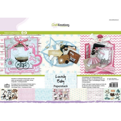 CraftEmotions Paper stack Lovely Baby 11 vel A4 (09-16)