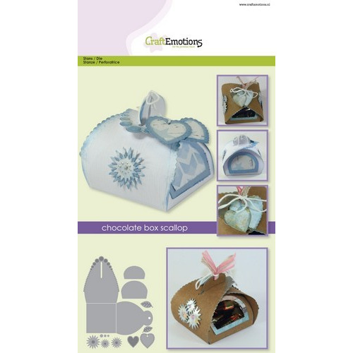 CraftEmotions Die - chocolate box scallop Card A5 box 64x64x68 mm (02-17)