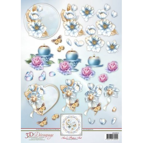 3D Decoupage Sheet Frosted Florals