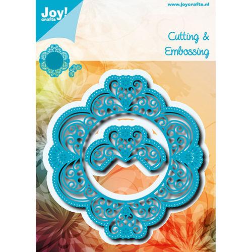 Snij-embosstencil - Blauwe ornamentmal met snijwerk & bloemen