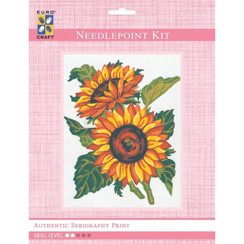 3042K - Eurocraft NEEDLEPOINT KIT 14x18cm Sunflowers