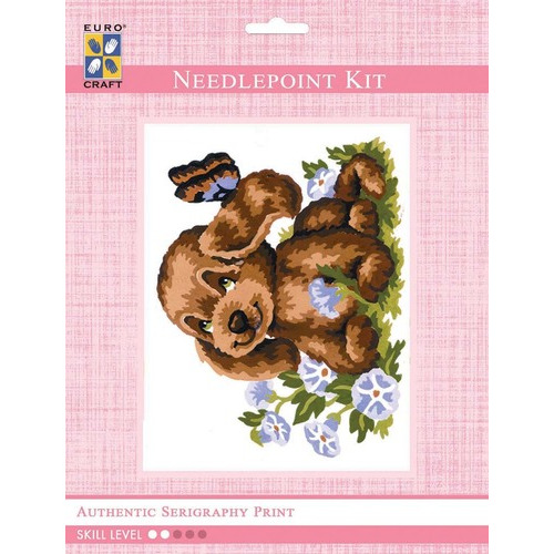 3191K - Eurocraft NEEDLEPOINT KIT 14x18cm Puppy and Butterfly