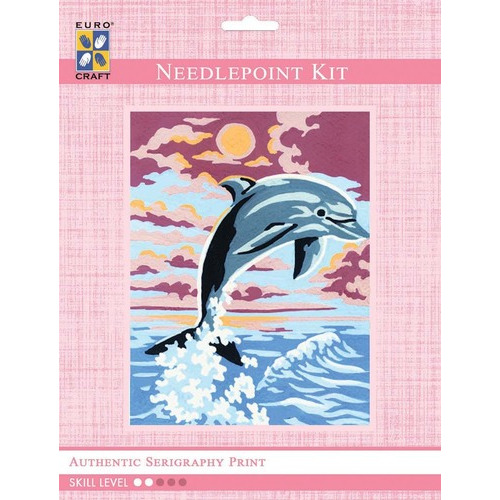 3223K - Eurocraft NEEDLEPOINT KIT 14x18cm Leaping Dolphin