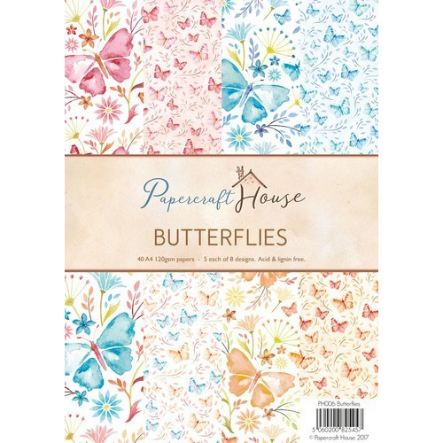 Wild Rose Studio's A4 Paper Pack Stripes and Butterflies a 40 VL PH006 (06-17)