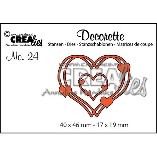 Crealies Decorette no. 24 verstrengelde harten 40x46-17x19mm / CLDR24 (06-17)
