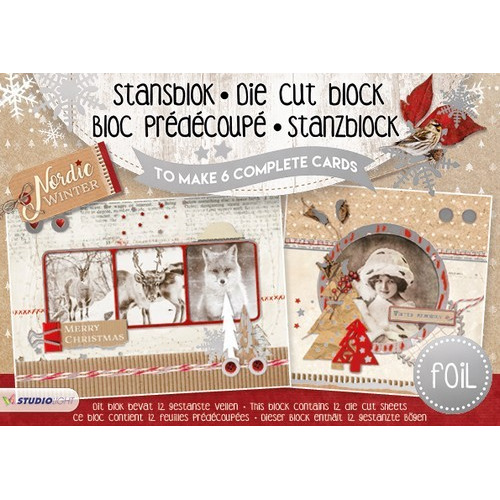 Studio Light Die cut blocs A5 folie 12 vel Nordic Winter A5STANSBLOKSL09 (06-17)