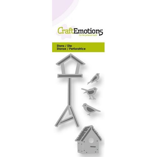 CraftEmotions Die - vogelhuisjes en vogels Card 5x10cm  (09-17)
