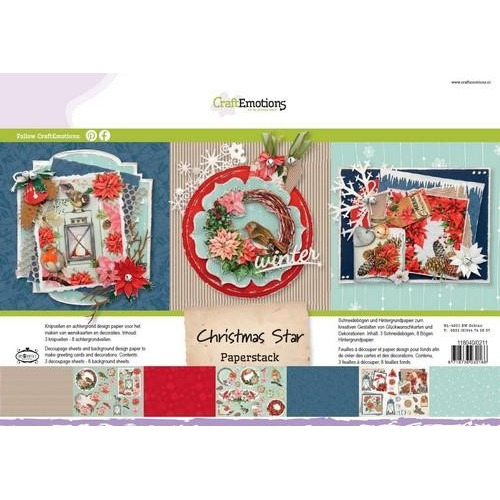 CraftEmotions Paper stack Christmas Star 11 vel A4 (08-17)