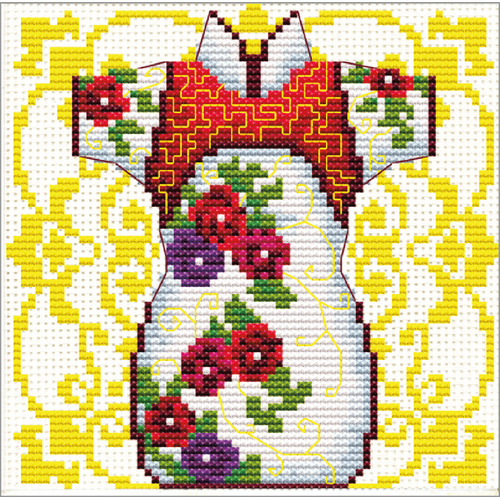 140.023 No-Count Cross Stitch Kits Female Geisha Rose 12x12cm