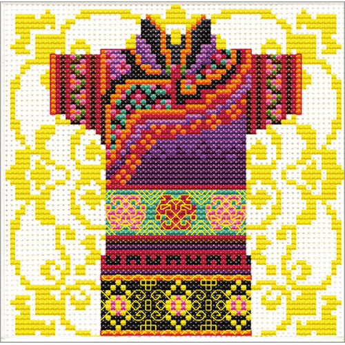 140.024 No-Count Cross Stitch Kits Male Geisha Mauve 12x12cm