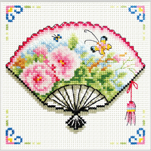 140.026 No-Count Cross Stitch Kits Rose Fan 12x12cm