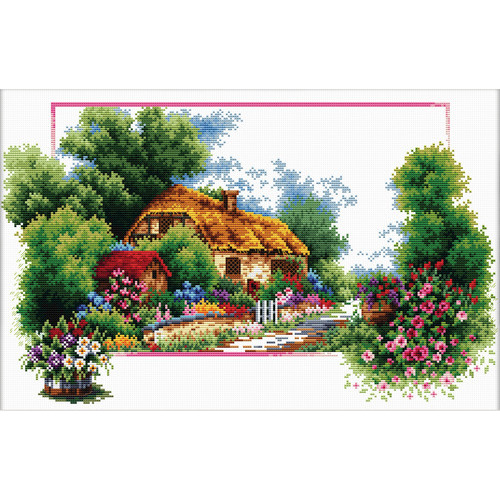 440.041 No-Count Cross Stitch Kits English Cottage Lane 42x25cm
