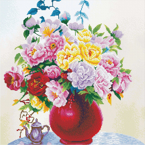 640.057 No-Count Cross Stitch Kits Cabbage Roses in a Vase 40x40cm