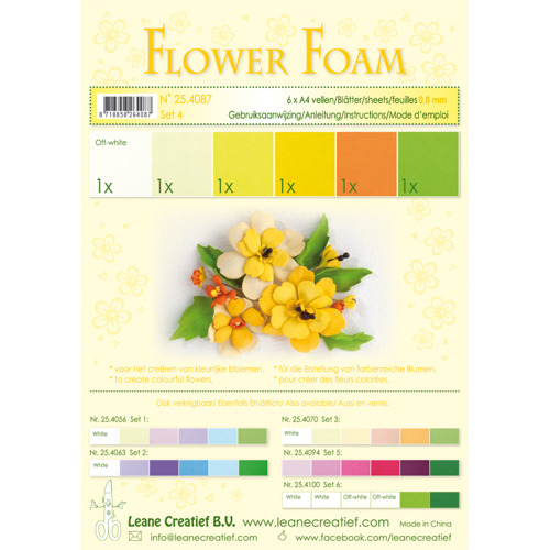 Flower foam assortment set 4 yellow