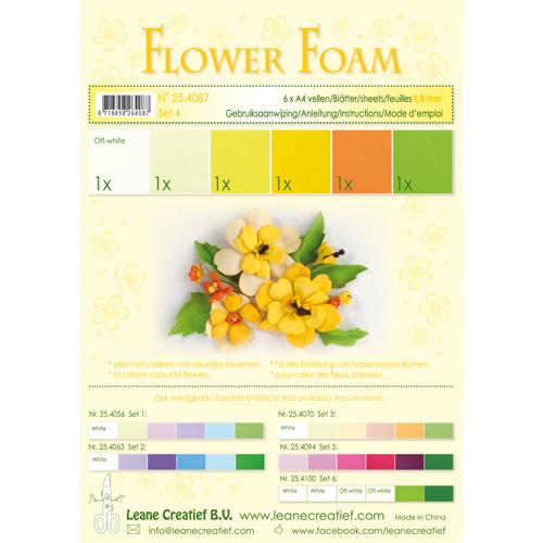 Flower foam assortment set 4 yellow