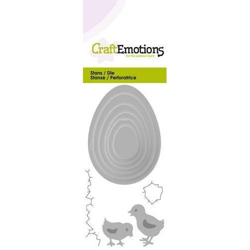 CraftEmotions Die - eieren met kuikens Card 5x10cm (new 01-18)