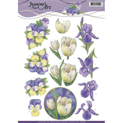 3D Knipvel - Jeanine`s Art - Purple Spring flowers