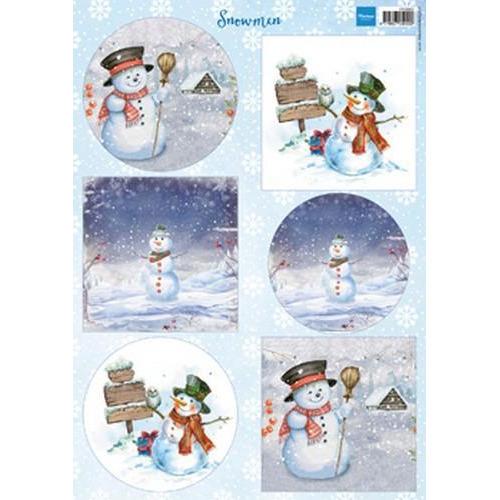 Marianne D 3D Knipvellen sneeuwpoppen  cirkel en vierkant VK9569 A4 (08-18)