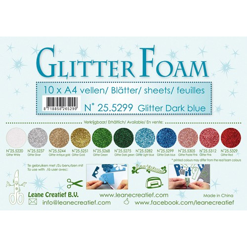 10 Glitter foam sheets A4 Glitter Dark Blue