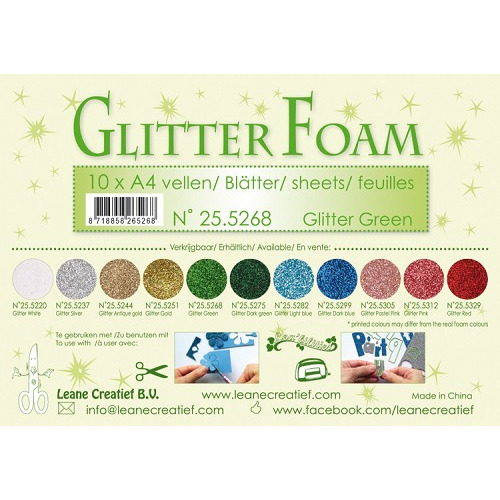 10 Glitter foam sheets A4 Glitter Green