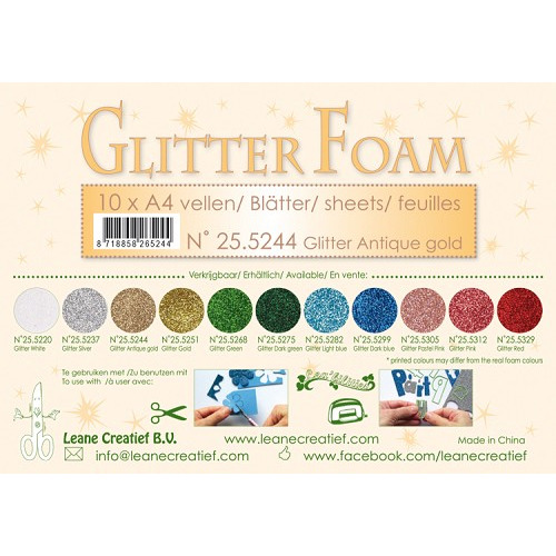 10 Glitter foam sheets A4 Glitter Antique Gold